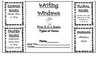 """Writing Windows"" Literacy Center: Types of Nouns"