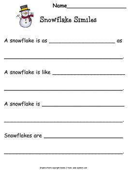 Writing: Winter Snowflake Similes
