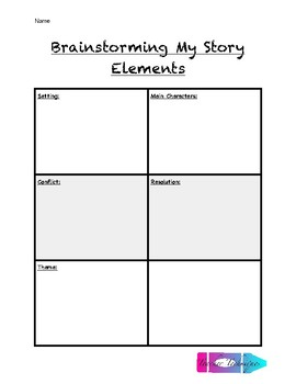 Writing With Story Elements (Brainstorming Sheet and Checklist)