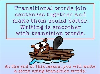 Writing Process : Writing With Transition Words for Promethean Board Use