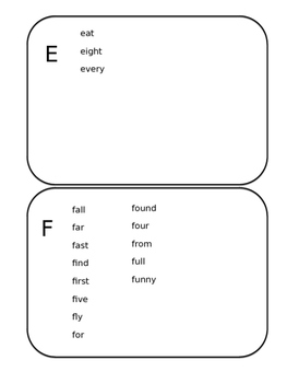 Writing Word Booklet-Dolch Words