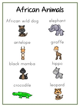 Writing Word File Folder - African Animal Thematic Folder - Picture Word Wall