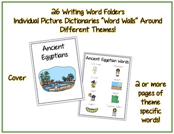 Writing Word File Folder Bundle - 26 Thematic Folders - Picture Word Wall