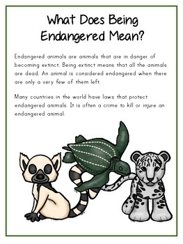 Writing Word File Folder - Endangered Animal Thematic Folder - Picture Word Wall