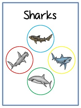 Writing Word File Folder - Sharks Animal Thematic Folder - Picture Word Wall