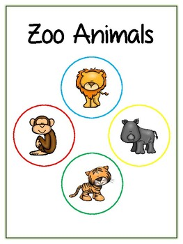 Writing Word File Folder - Zoo Animal Thematic Folder - Picture Word Wall