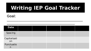 Writing & Word Problems IEP Tracker