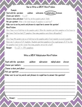 Writing Word Problems Student Template