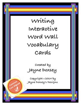 Writing Word Wall Vocabulary Cards