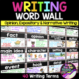 Writing Word Wall: Opinion, Expository, Narrative Writing
