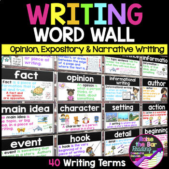 Writing Word Walls Bundle: Writing Posters, Word Wall Cards, Flashcards