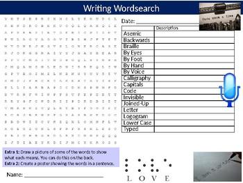 Writing Wordsearch Sheet Starter Activity Keywords English Literature