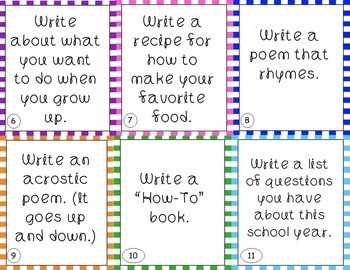 Writing (Work on Writing) Task Cards - EDITABLE - great for Daily 5 and Centers