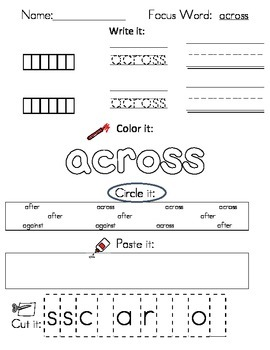 Writing Worksheets - 2nd Grade High Frequency Words