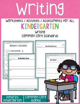 Writing Worksheets / Activities for Kindergarten Common Core