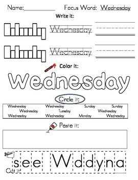 Writing Worksheets - Days & Months Words