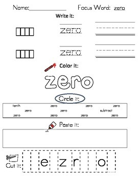 Writing Worksheets - Math Vocabulary (38 pages)