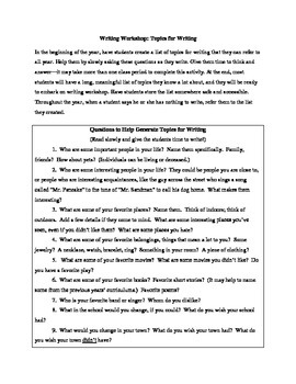 Writing Workshop Activity: Creating a Topics for Writing List