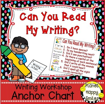 "Writing Workshop Anchor Chart - ""Can you Read my Writing?"""