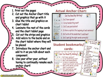 """Writing Workshop Anchor Chart - """"Can you Read my Writing?"""""""