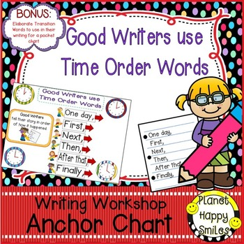 """Writing Workshop Anchor Chart - """"Good Writers use Time Order Words"""""""