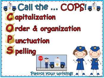 Writing Workshop Anchor Chart and bonus items ~ Call the Cops!