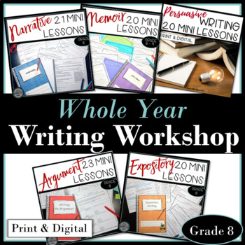 Whole Year Writing Workshop Bundle of Mini Lessons for Five Writing Products