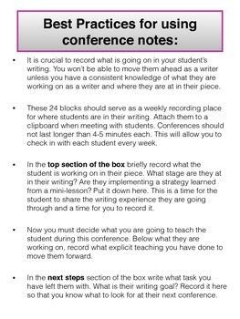 Writer's Workshop Teacher Notetaking in Conference