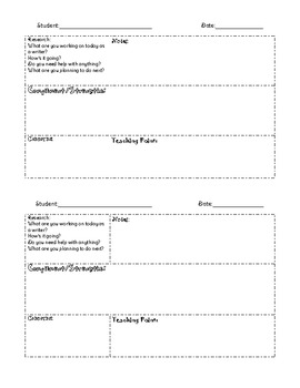 Writing Workshop- Conference Recording Sheet