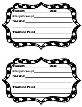 Writing Workshop Conference Sheet