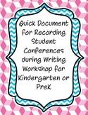 Writing Workshop Conference Sheet