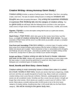 Writing Workshop Creative Writing Genre Checklists and Explanations