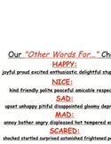 Writing Workshop ELA Test Prep Other Words For Printable Chart