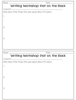 Writing Workshop Feedback Sheets