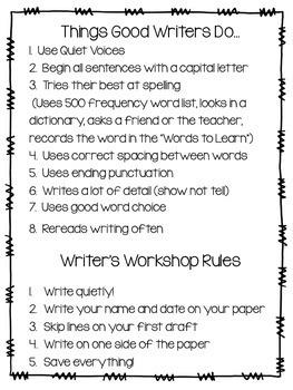 Writing Workshop Folder Resources