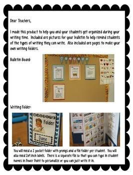Writing Workshop:  Folder/Bulletin Board/Banner/Writing Pages
