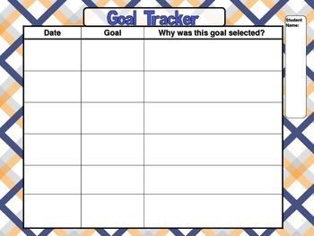 Writing Workshop Goal Chart