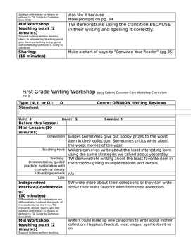Writing Workshop Lucy Calkins 1st gr Unit 3 Lesson Plans Writing Reviews Opinion