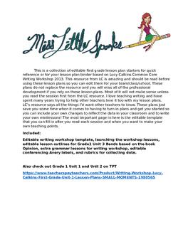 Writing Workshop Lucy Calkins 1st gr Unit 3 Lesson Plans W
