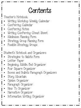 Writing Workshop Materials (With Graphic Organizers)