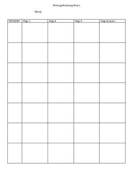 Writing Workshop Notes form