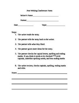 Writing Workshop Peer Conference Form