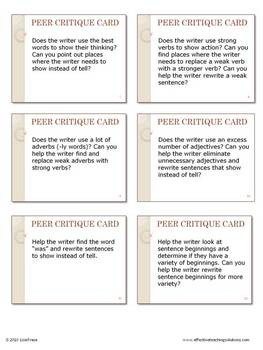 Writing Workshop - Peer Critique Discussion Cards
