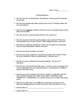 Writing Workshop Peer Editing Key