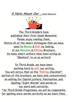 Writing Workshop Personal Narratives Small Moments Chart Letter