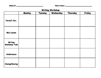 Writing Workshop Plan Sheet