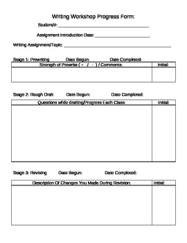 Writing Workshop Progress Form