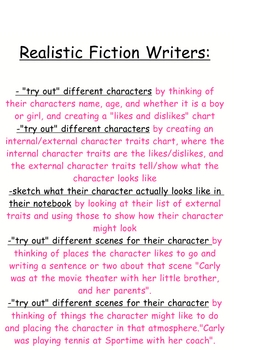 Writing Workshop Realistic Fiction Teaching Point Strategy Chart Print