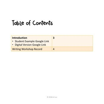 Writing Workshop Record