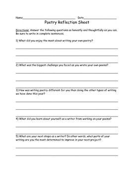 Writing Workshop Reflection Sheets